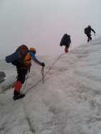Roping up on Chola Mountain climbing from Camp Two to Camp Three